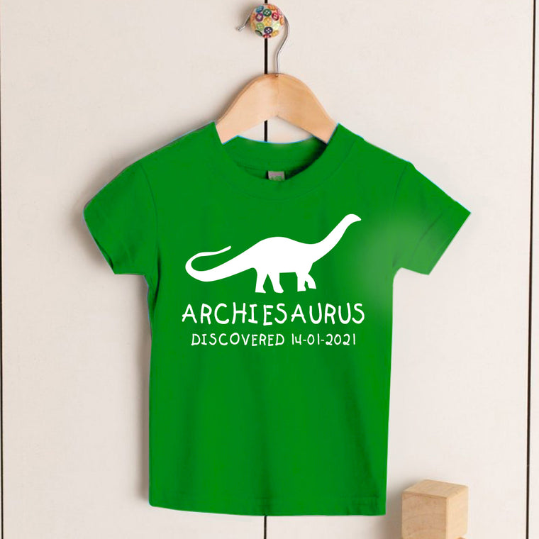 Personalised Brontosaurus Kids Dinosaur T-Shirt, Birthday Gift for Your Children