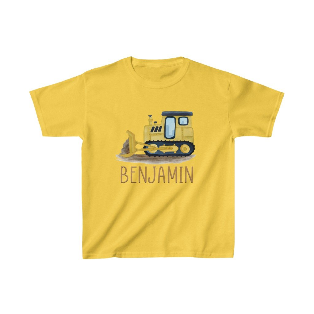 Custom Name Construction Truck Kids Heavy Cotton Tee IV