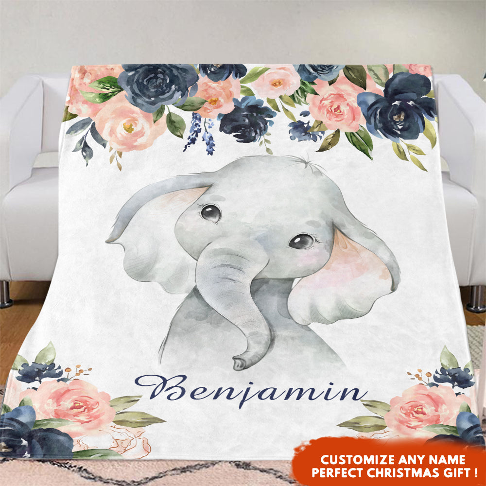 Personalized Name Baby Boy Elephant Fleece Blankets with Pink & Navy Flower