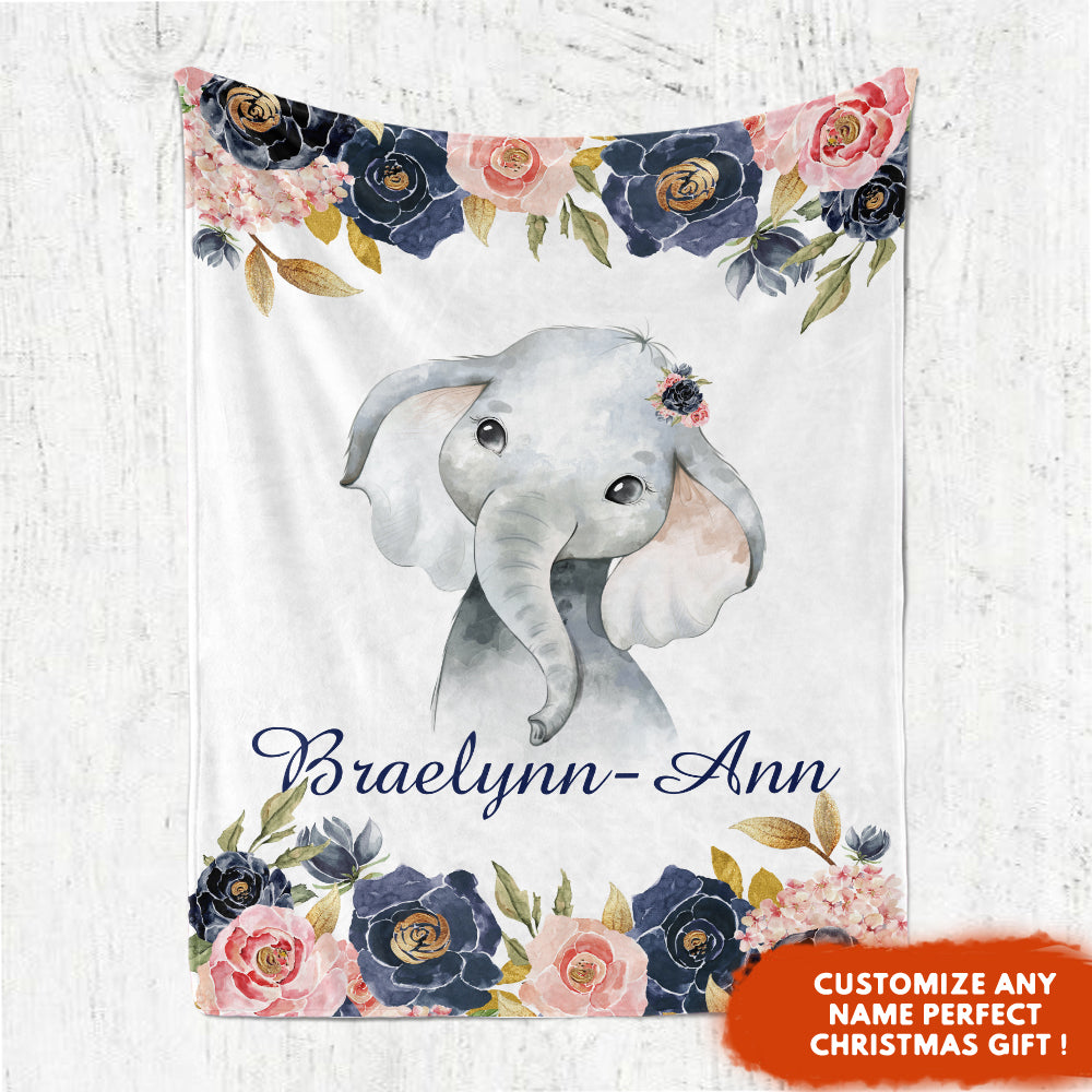 Custom Name Watercolor Baby Elephant Fleece Blanket