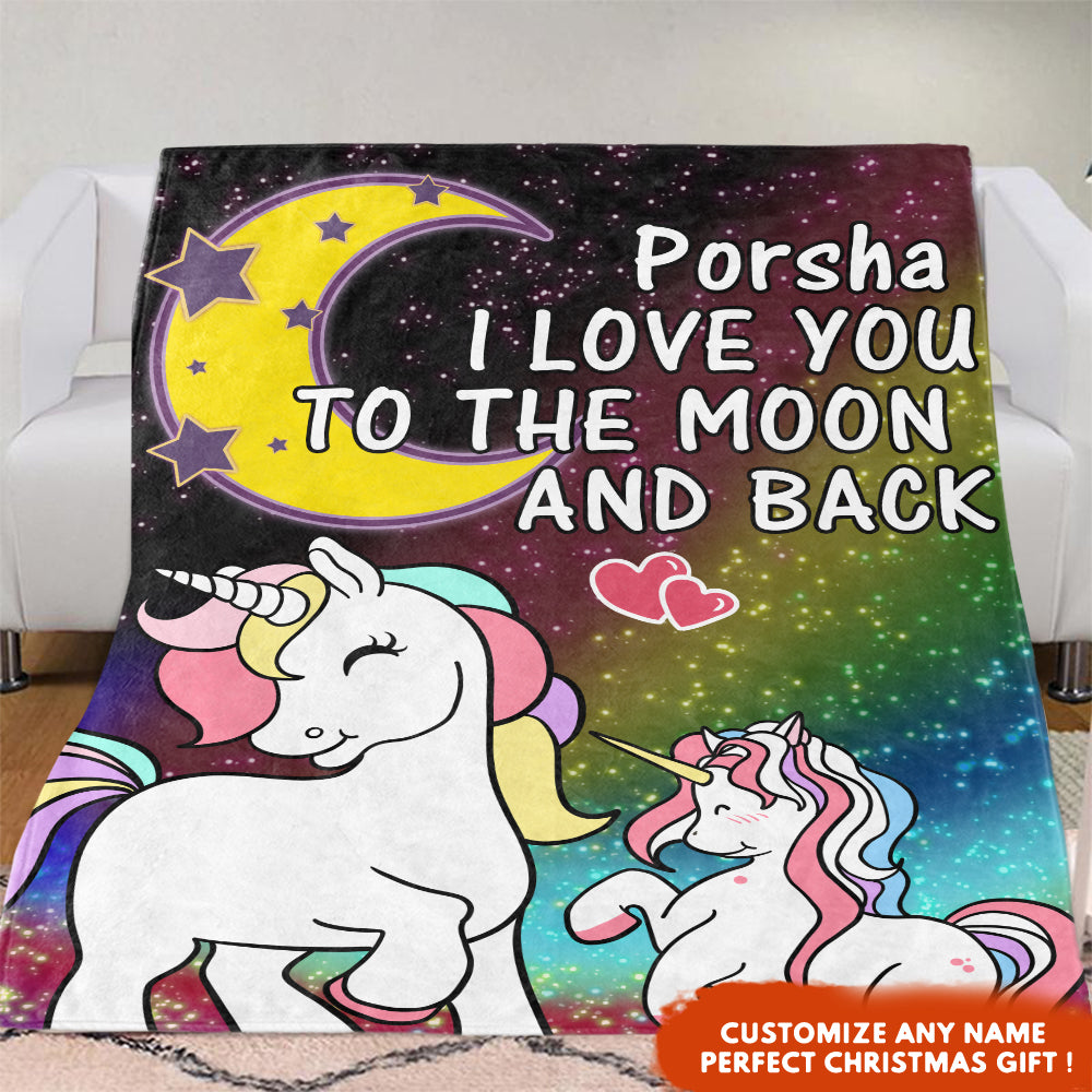 Personalized Magic Unicorn Premium Fleece Blanket - I Love You to The Moon & Back