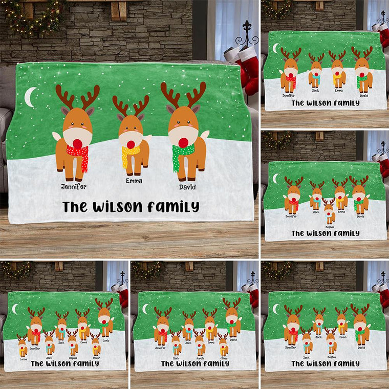 Personalized Deer Christmas Blanket with Children's Names