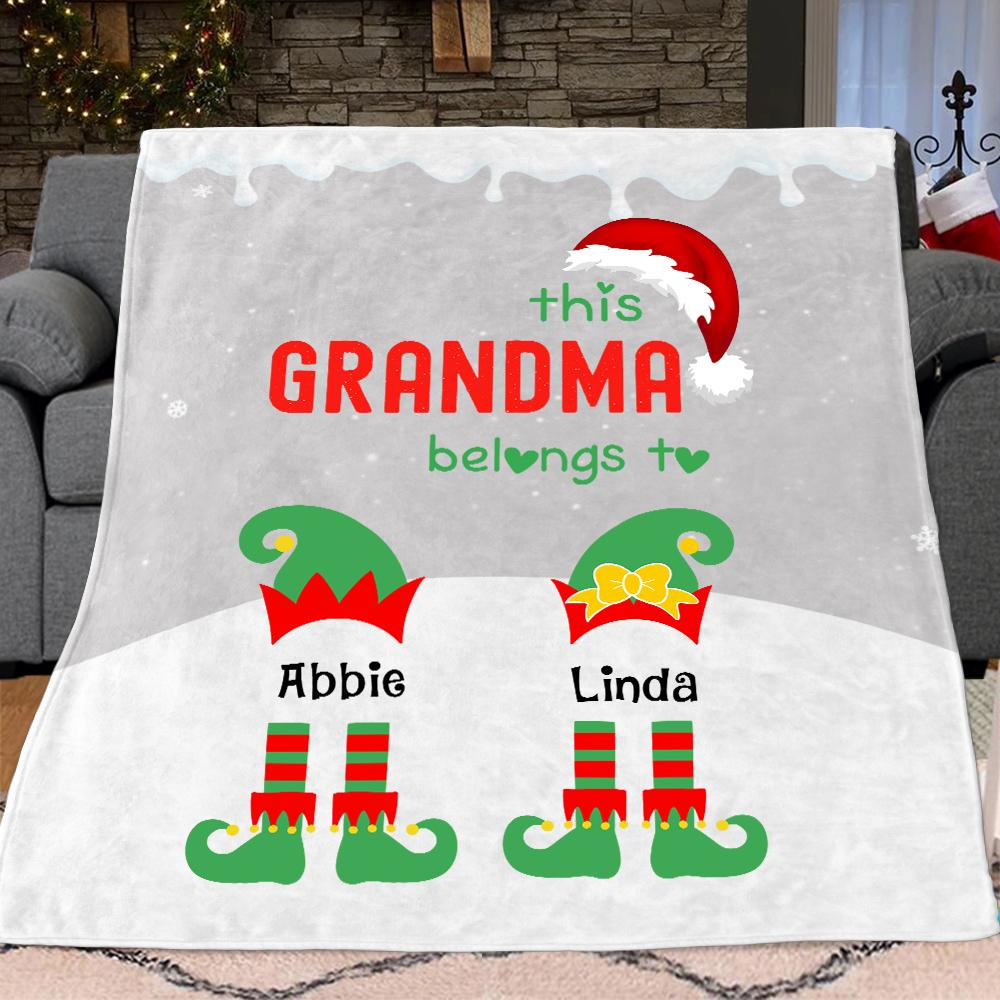 Custom Christmas Elf Blanket with Grandkids' Names