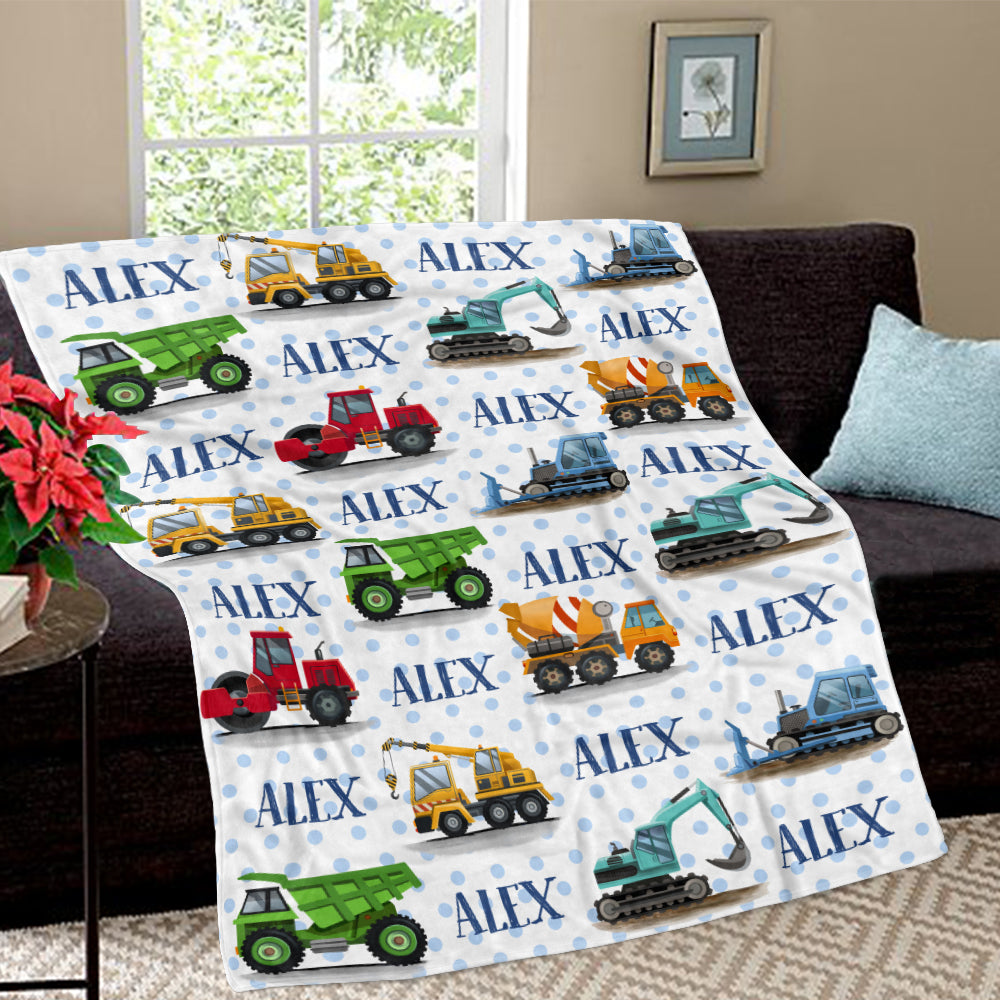 Personalized Name Engineering Trucks Cozy Plush Fleece Blankets