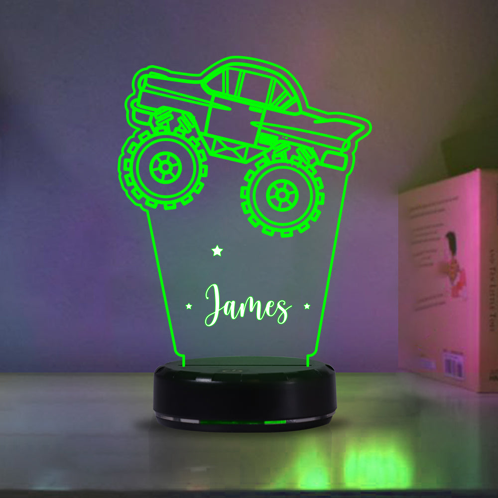 Custom Truck Children's Night Lights with Name / 7 Color Changing LED Lamp