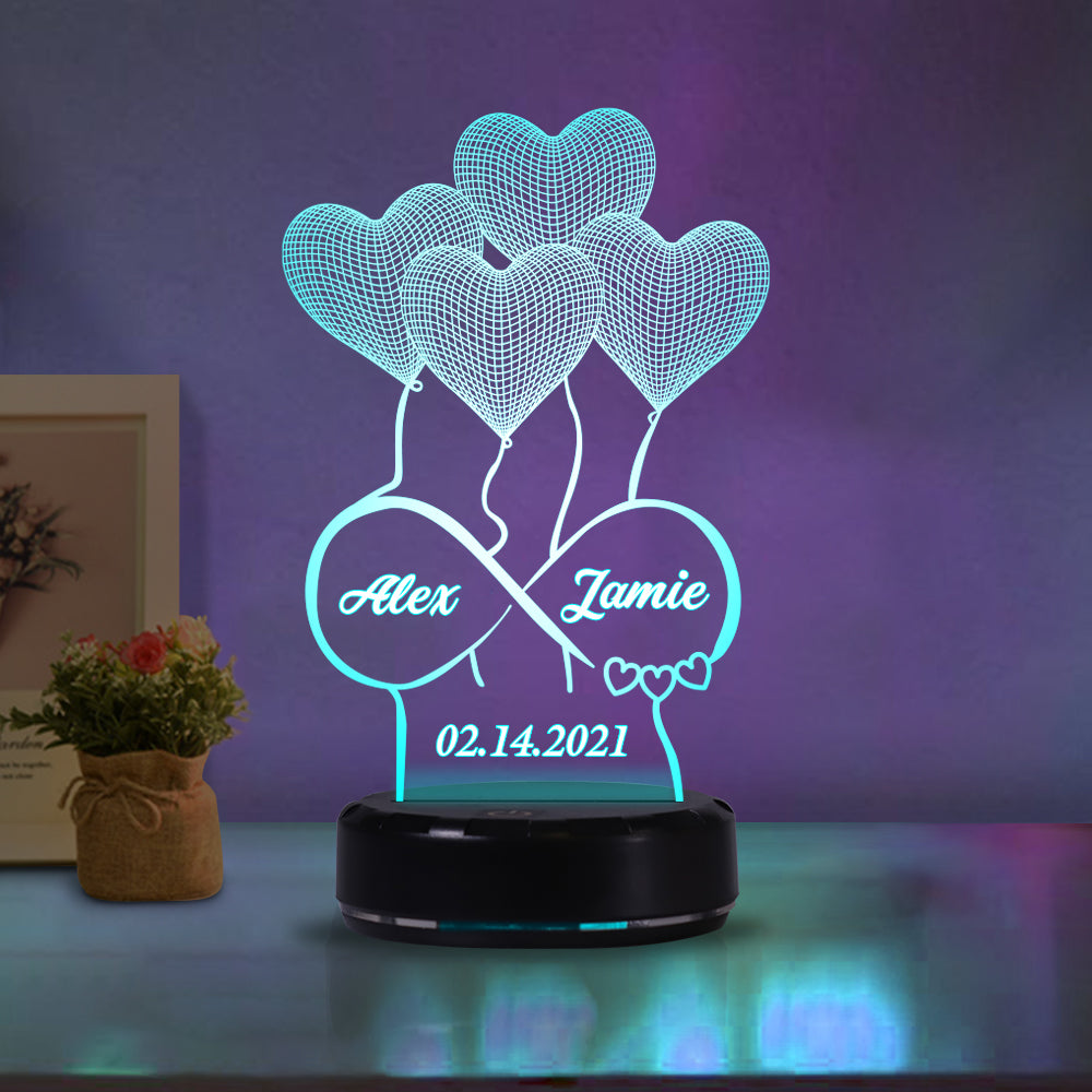 Custom Name Valentine's Day Night Lights Heart-Shaped Lamp