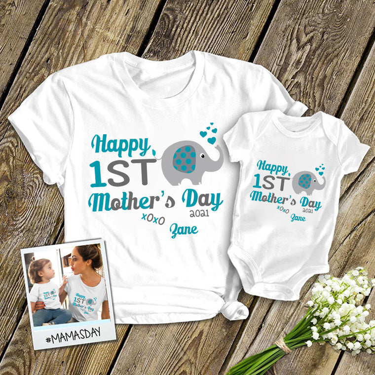 Personalized Little Elephant Mother's Day Baby Onesies / Mom Shirts