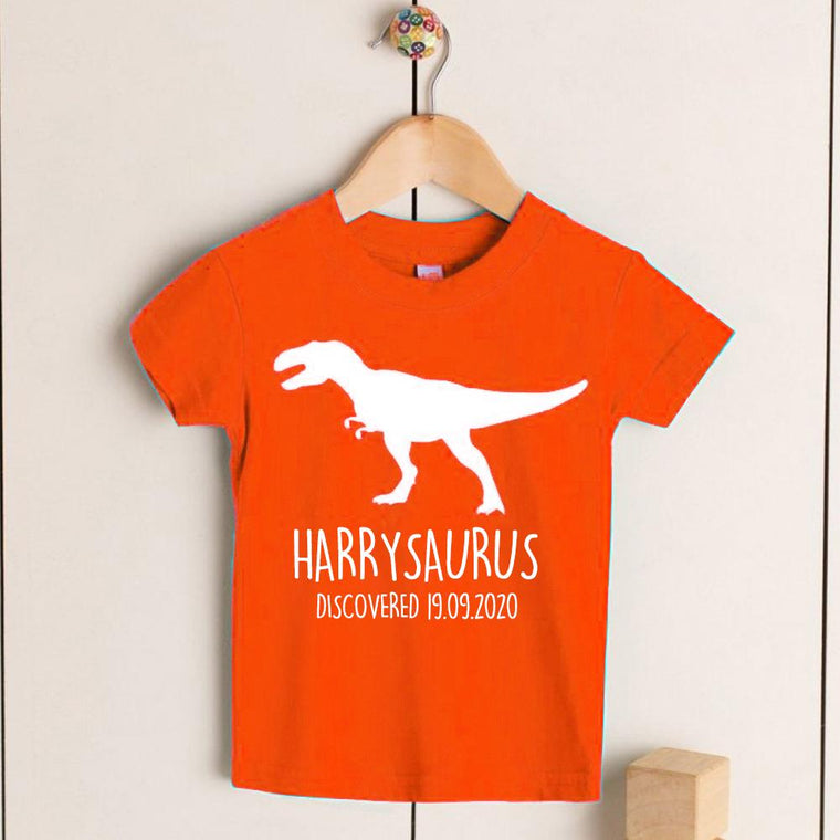 Personalised T-Rex Kids Dinosaur T-Shirt, Birthday Gift for Your Children