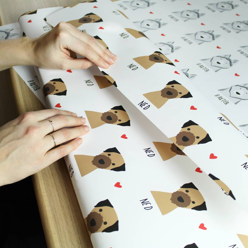 Personalised Heart Dog Wrapping Paper With Name (5 Sheets Included)