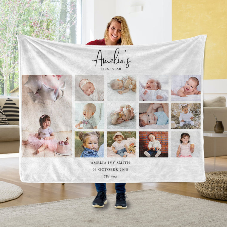 Personalized Photo Cozy Plush Fleece Blankets