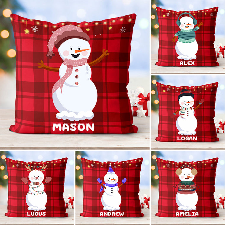 Personalized Name Little Snowmen Children's Pillowcase