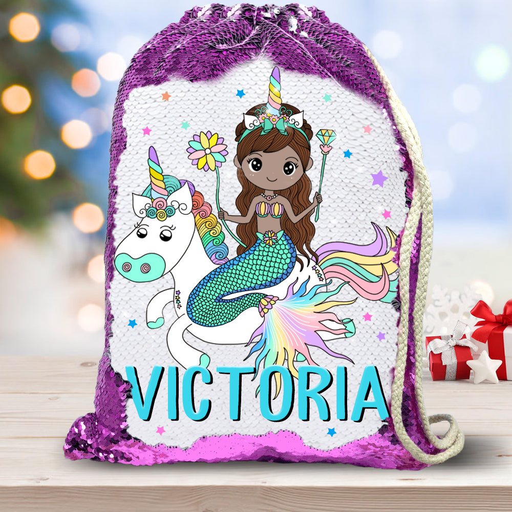 Personalized Name Mermaid & Unicorn Drawstring Sequin Backpack