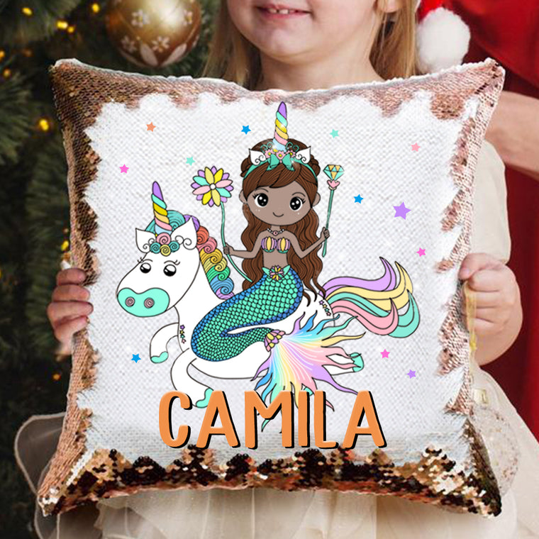 Personalized Name Mermaid &  Unicorn Sequin Pillowcase