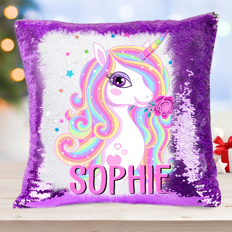 Personalized Name Magic Unicorn Sequin Pillowcase