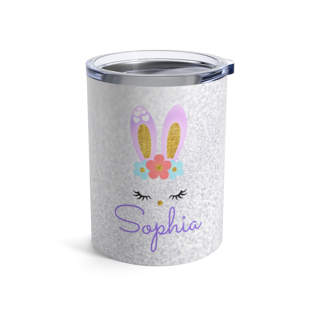 Custom Name Rabbit Children's Travel Drink Tumbler 10oz XIV