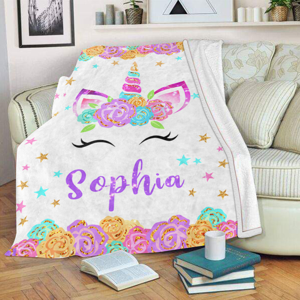 Personalized Name Unicorn Fleece Blanket with Flowers & Stars