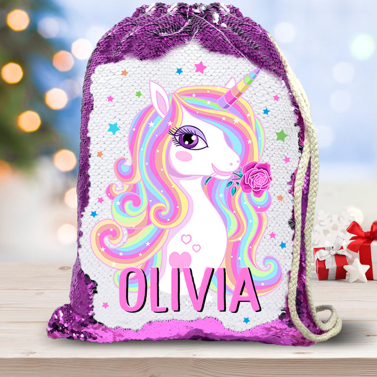 Personalized Name Magic Unicorn Drawstring Sequin Backpack