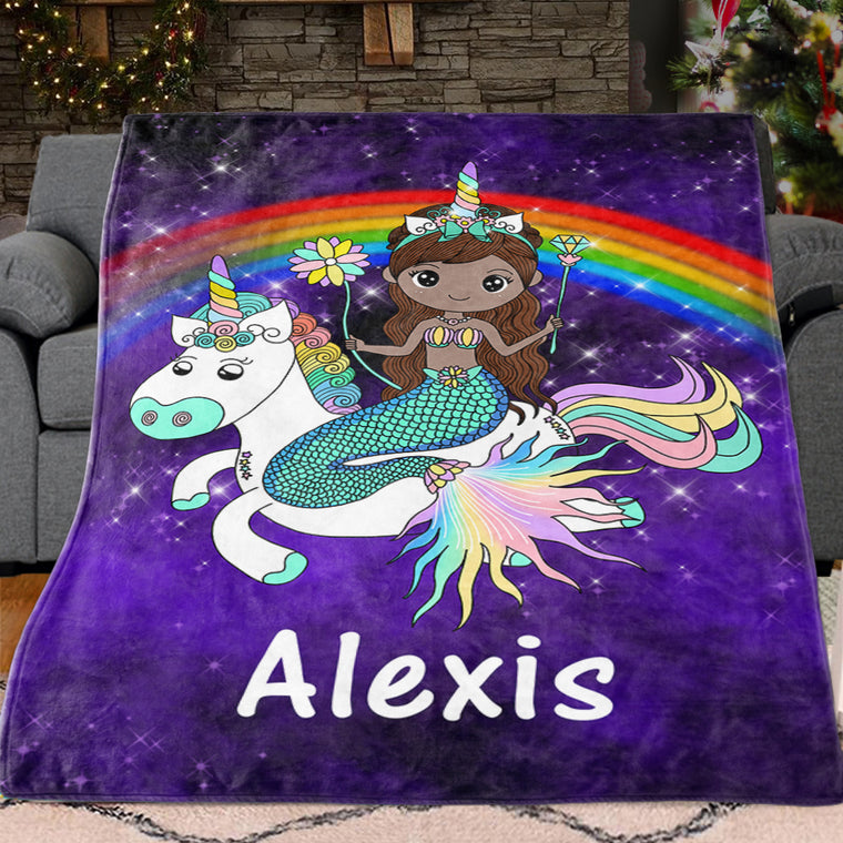 Custom Mermaid & Rainbow Unicorn Cozy Plush Fleece Blanket II