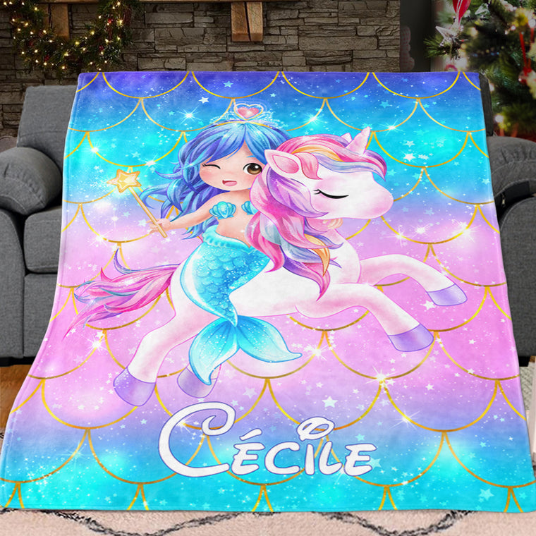Personalized Magical Unicorn & Mermaid Fleece Blankets II