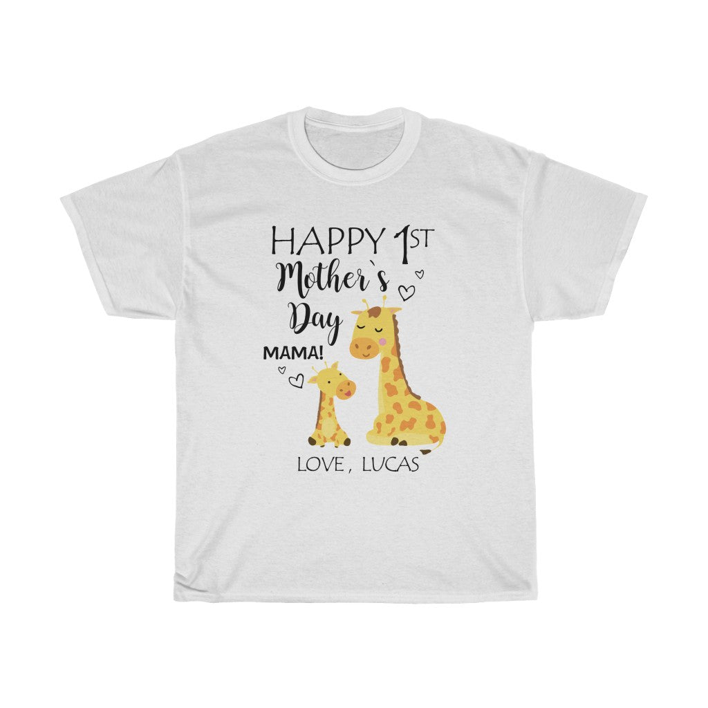 Personalized Name Giraffe Mother's Day Mom Tee