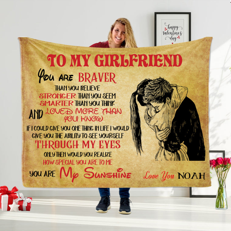 YOU ARE MY SUNSHINE Custom Name Valentine's Day Blankets for Wife & Girlfriend II