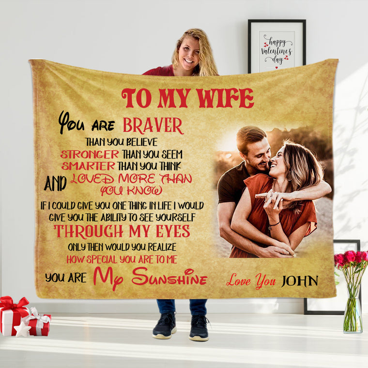 YOU ARE MY SUNSHINE Custom Name Valentine's Day Blankets for Wife & Girlfriend