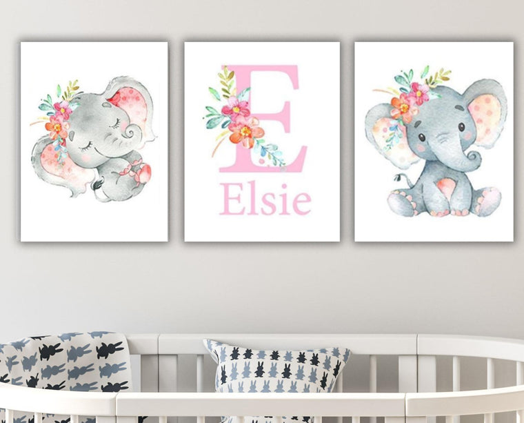 Personalized Initial & Name Cute Elephant Canvas Wall Art, Baby Nursery Wall Art, 3 Piece Set Canvas Art