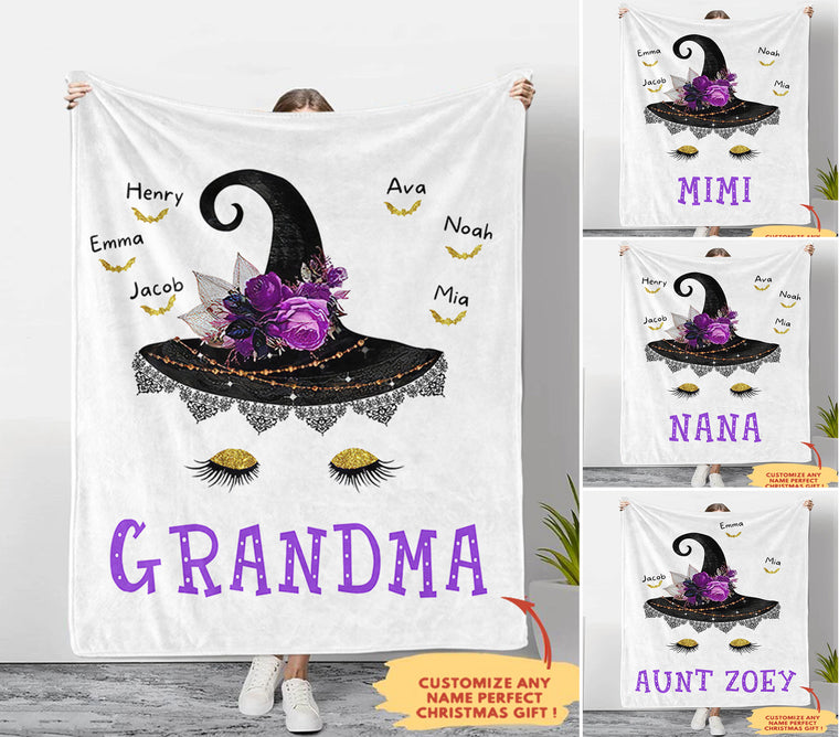 Personalized Witch Fleece Blankets with Your Nick & Kids' Names