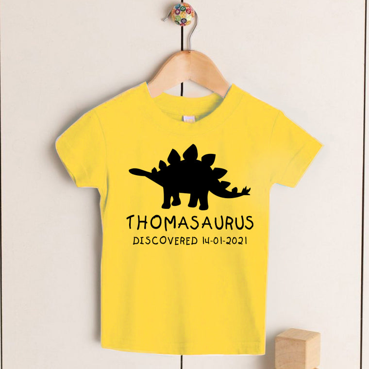Personalised Stegosaurus Kids Dinosaur T-Shirt, Birthday Gift for Your Children
