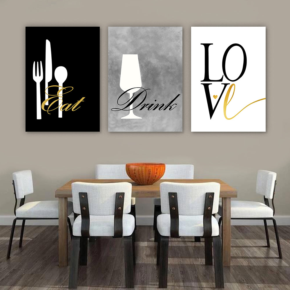 Eat Drink Love Modern Wall Art Set II