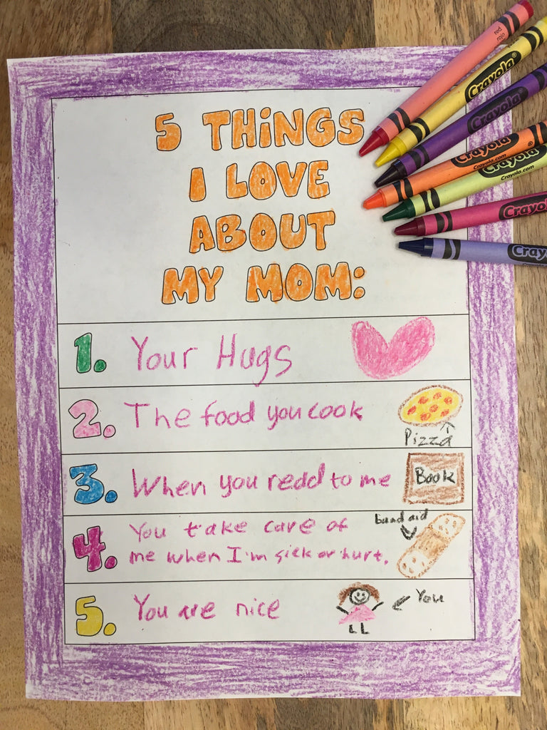 Mother's Day Coloring Page-5 Things I Love About My Mom