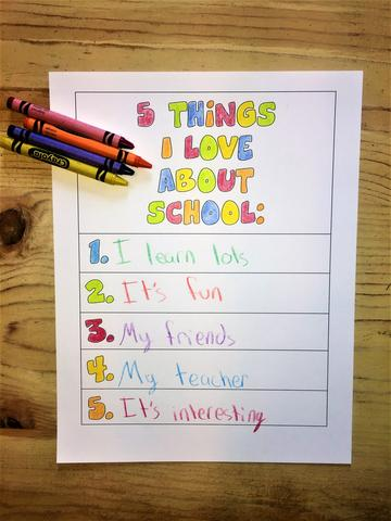5 Things I Love About My Teacher and School Coloring Page