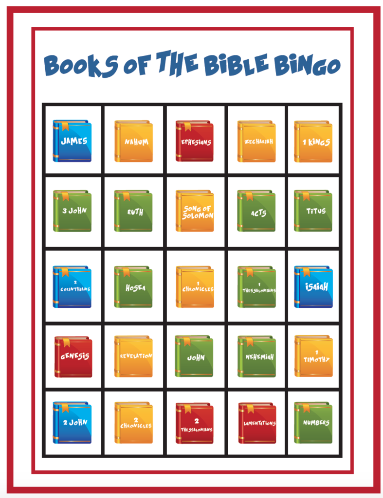 picture about Printable Books of the Bible Cards identified as Free of charge Textbooks Of The Bible Bingo Activity for Small children