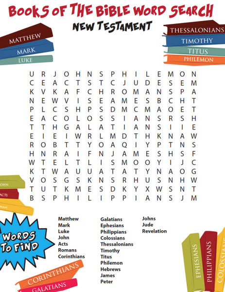 Books of the Bible Word Search New Testament