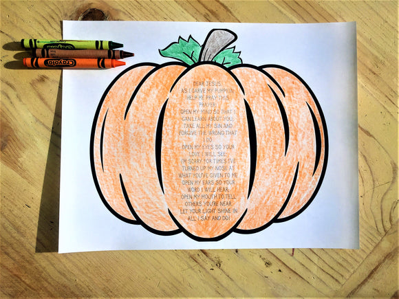 FREE Pumpkin Prayer Coloring Page
