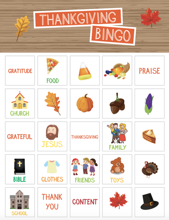 Thanksgiving Bingo Game