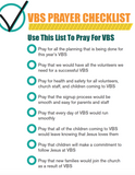 VBS Prayer Checklist Printable