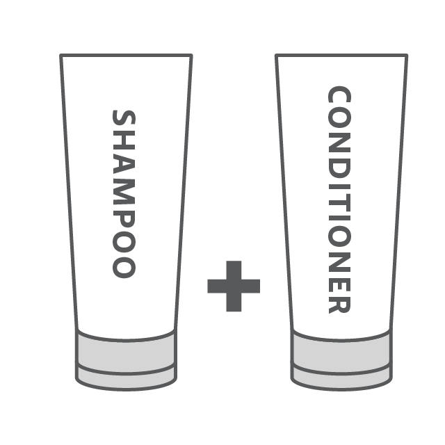 Combine with shampoo and conditioner