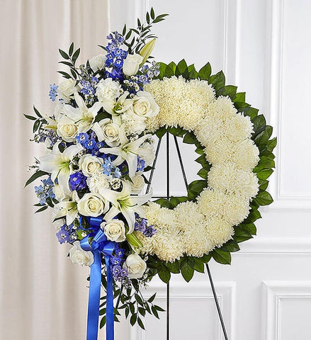 Serene Blessings Standing Wreath Blue & White