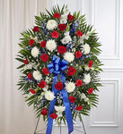 Red, White, & Blue Sympathy Standing Spray