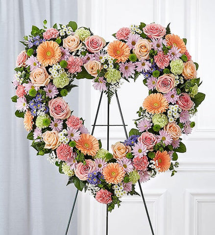 Always Remember Floral Heart Tribute - Pastel
