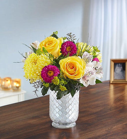 Sunshine Harmony in White Mosaic Vase (VASE SOLD OUT)