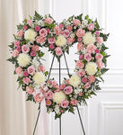 Always Remember Floral Heart Tribute - Pink