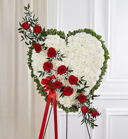 Always in My Heart Floral Heart - Red & White