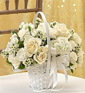 All White Flower Girl Basket