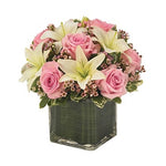 Pink Rose & Lily Cube Bouquet