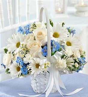 Blue Flower Girl Basket