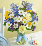 Bouquet for Baby Boy with Keepsake Frame
