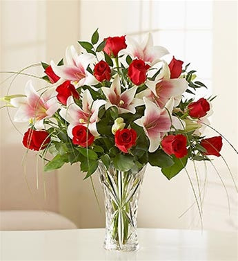 Roses and Lilies in Lenox Crystal Vase