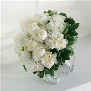 White Rose and Carnation Small Bridal Bouquet